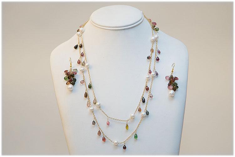 Pearl and multicolored tourmaline tear drop necklace