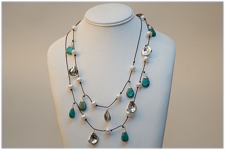 Turquoise, pearl and hand made silver leaves necklace