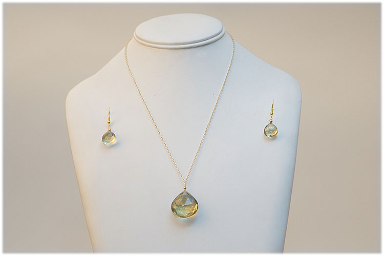Large Citrine drop necklace , 14k gold chain