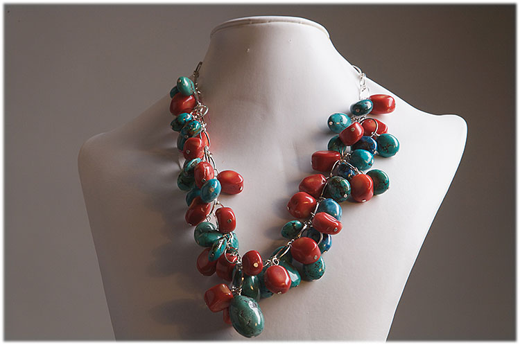 Turquoise and bamboo coral drop necklace