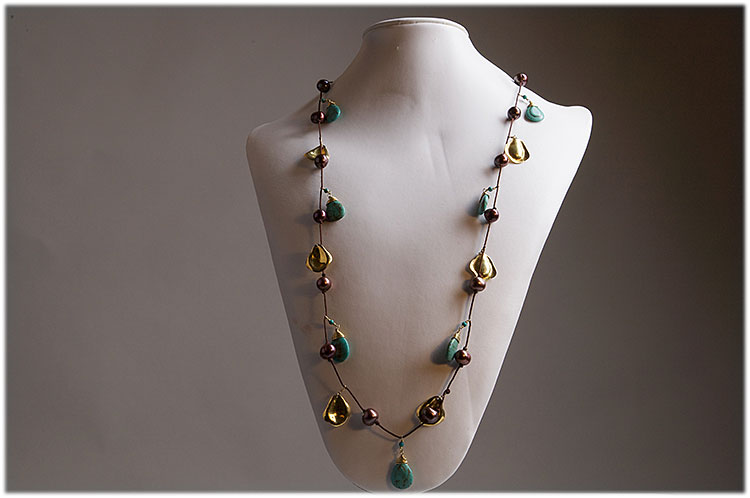 Turquoise , brown pearls and hand made gold leaves necklace