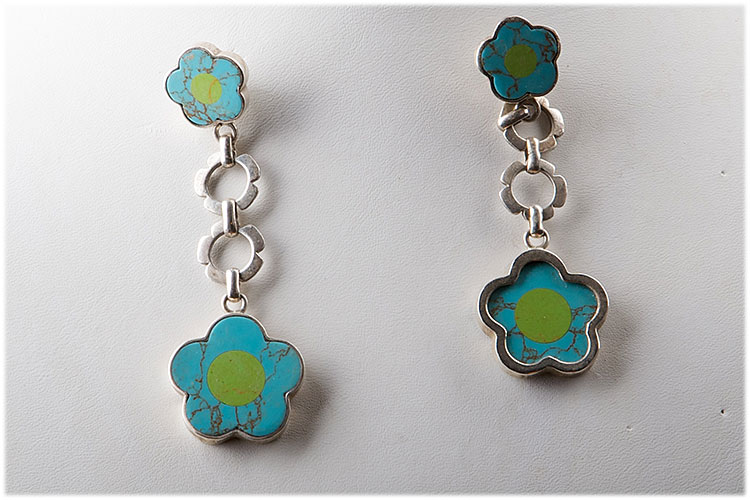 Dangling turquoise flower on Sterling silver