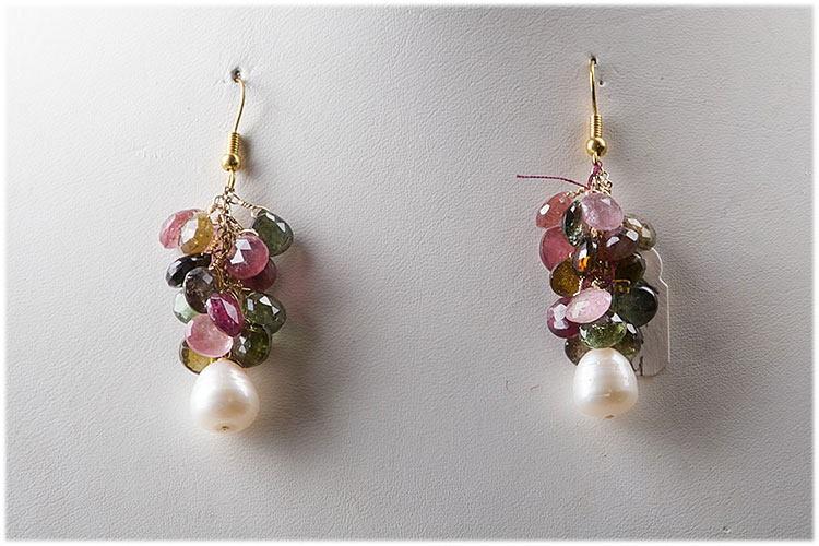Tourmaline tear drop earrings with baroque pearl