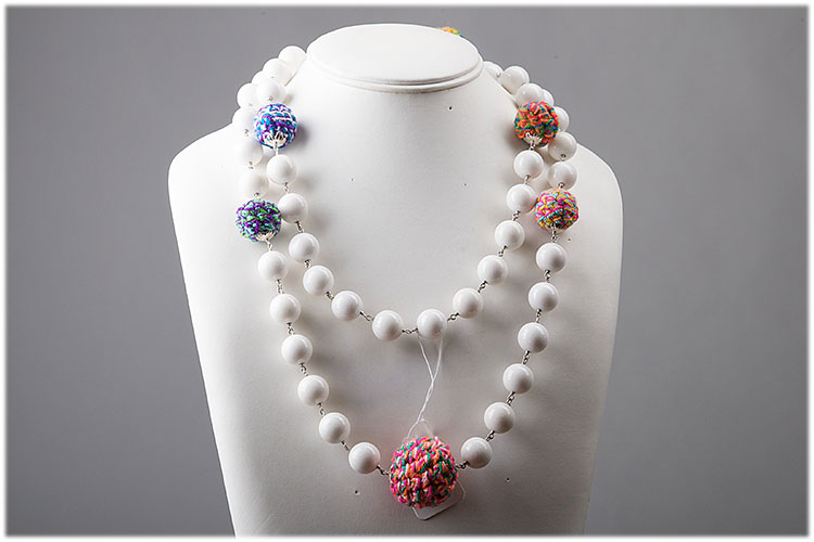 Long dyed white turquoise necklace with colored wool beads