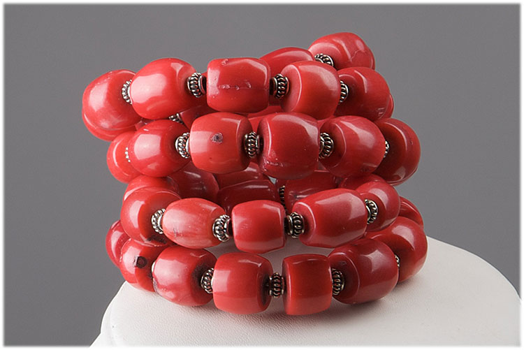 bamboo coral memory wire bracelet - Click Image to Close