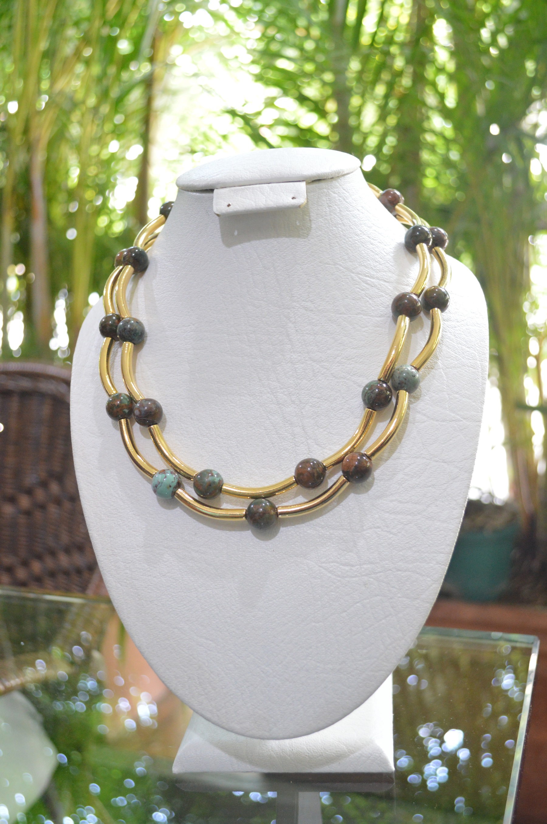 two strand gold filled jasper necklace