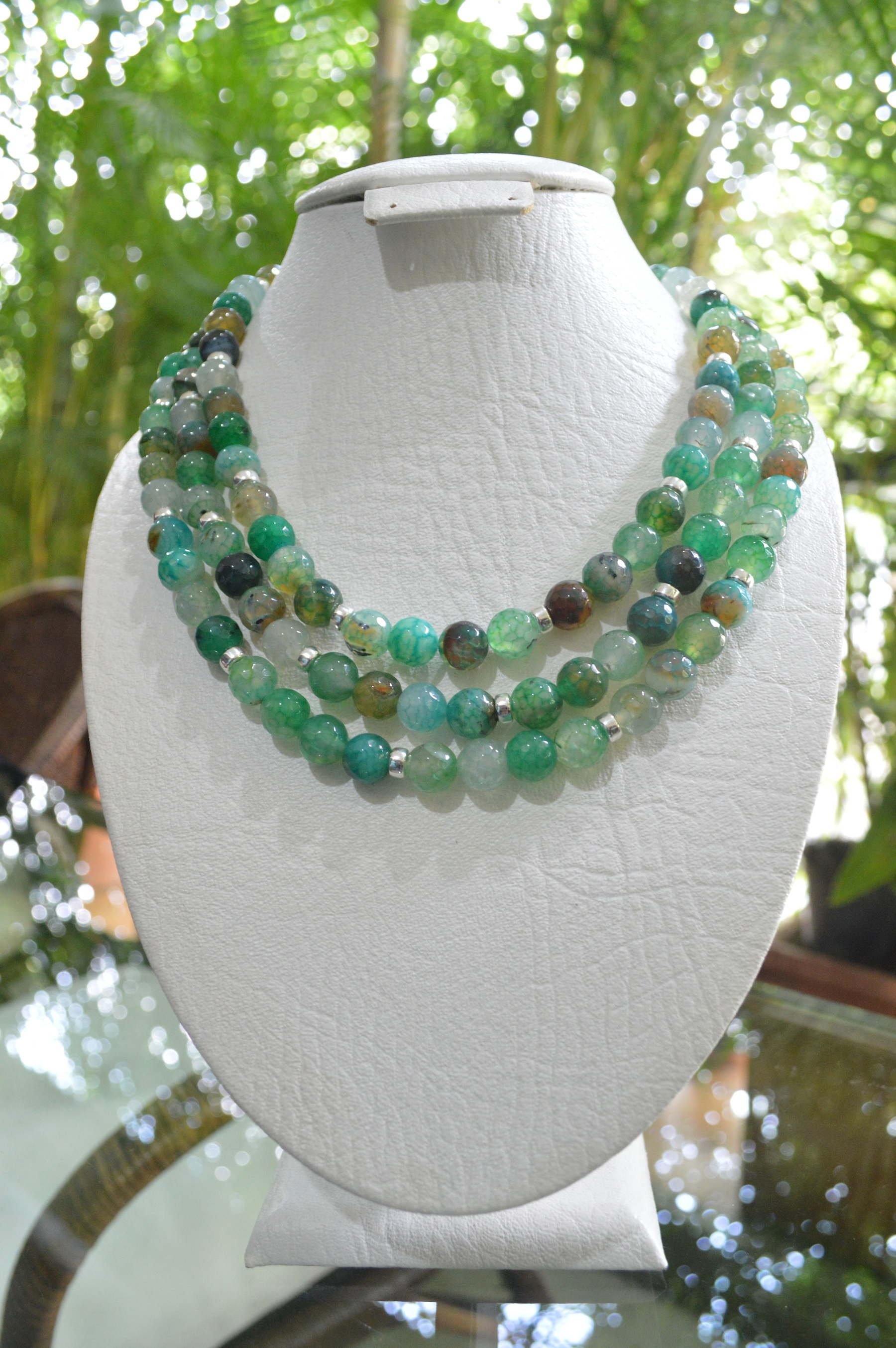 Three strand green agate necklace with sterling silver