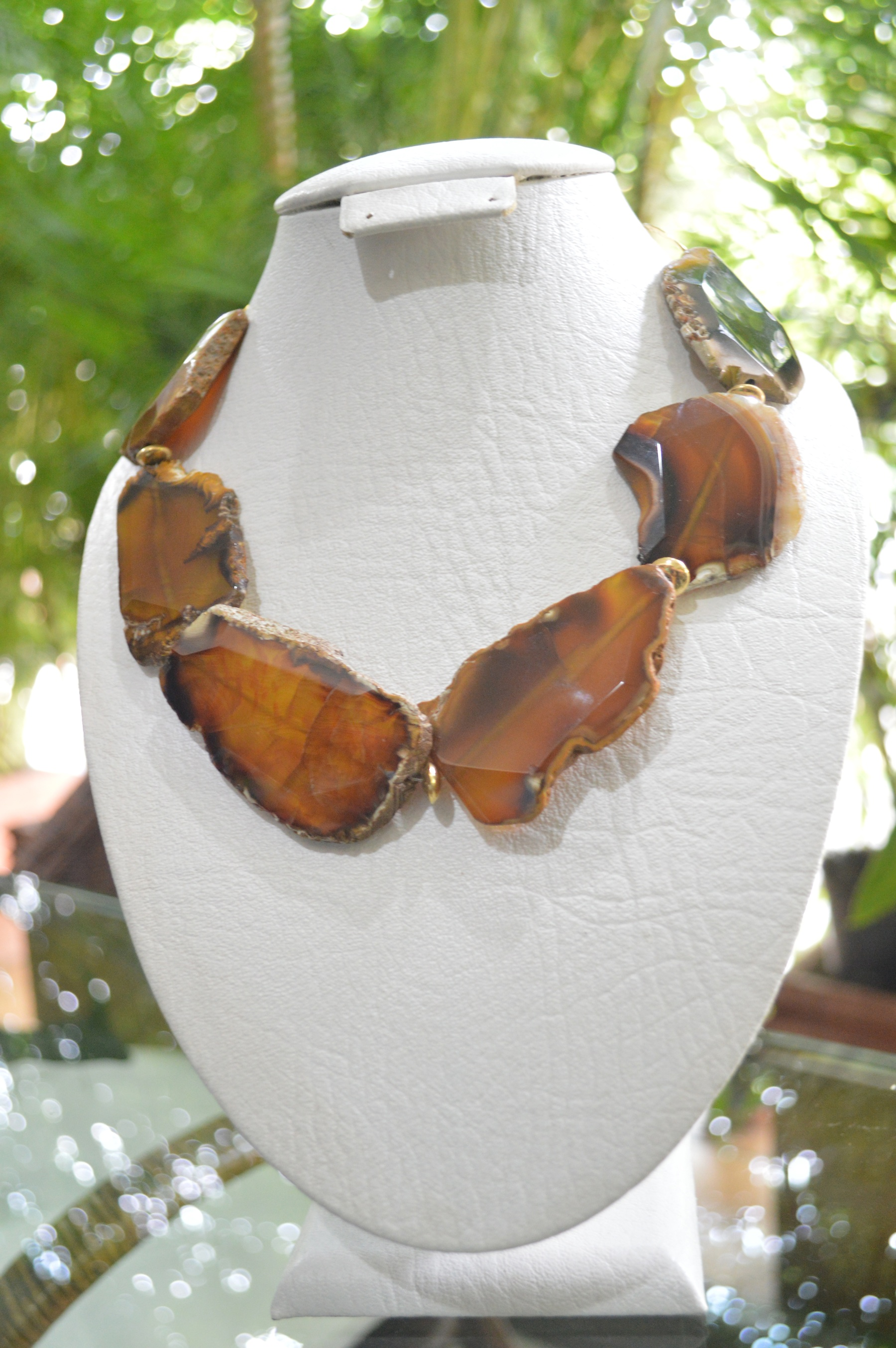 brown agate slab necklace with gold filled findings