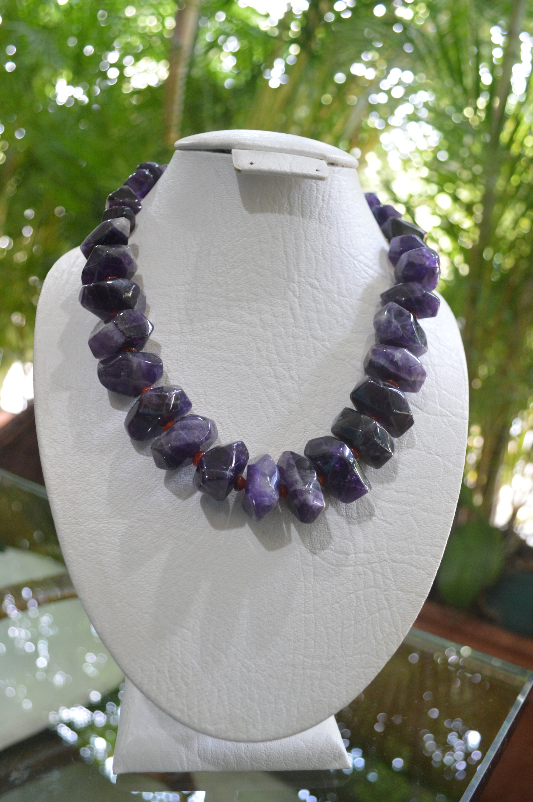 amethyst and carnelian necklace - Click Image to Close