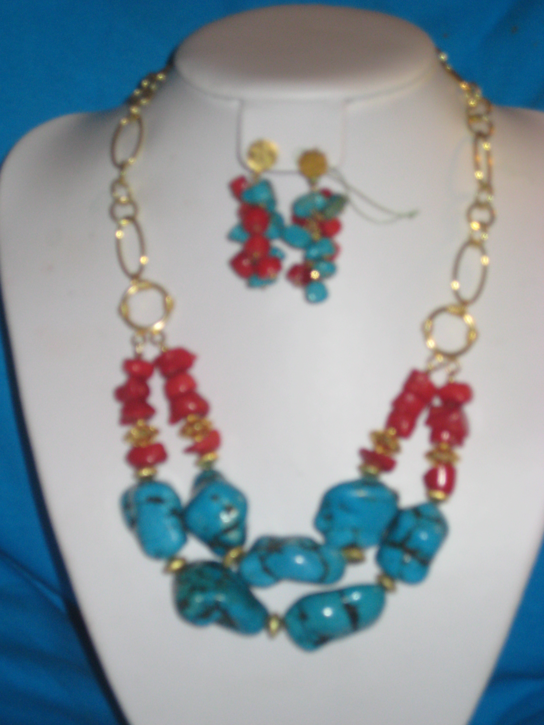 Turquoise, howlite and coral 2 strand necklace