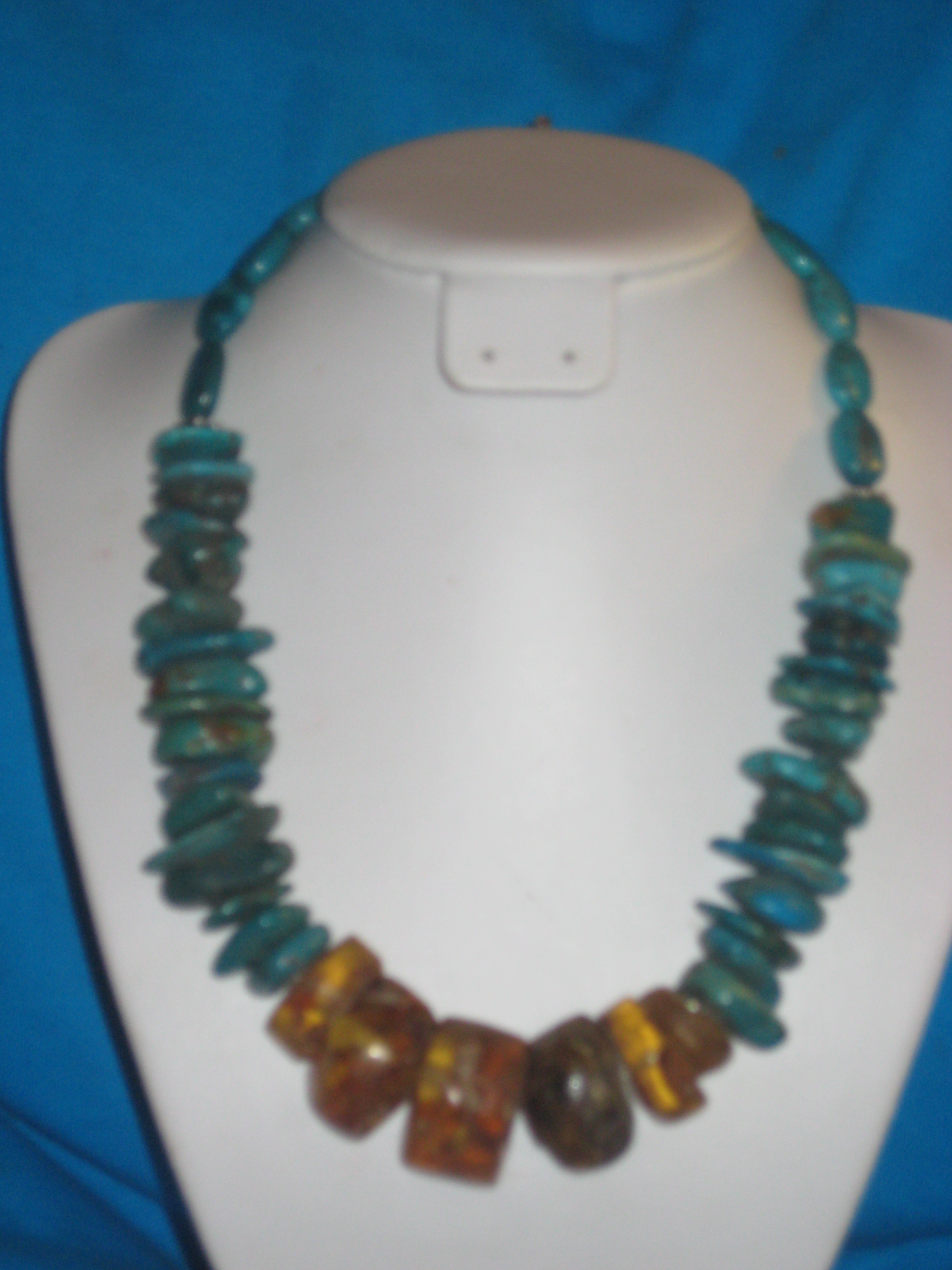 old amber and turquoise necklace