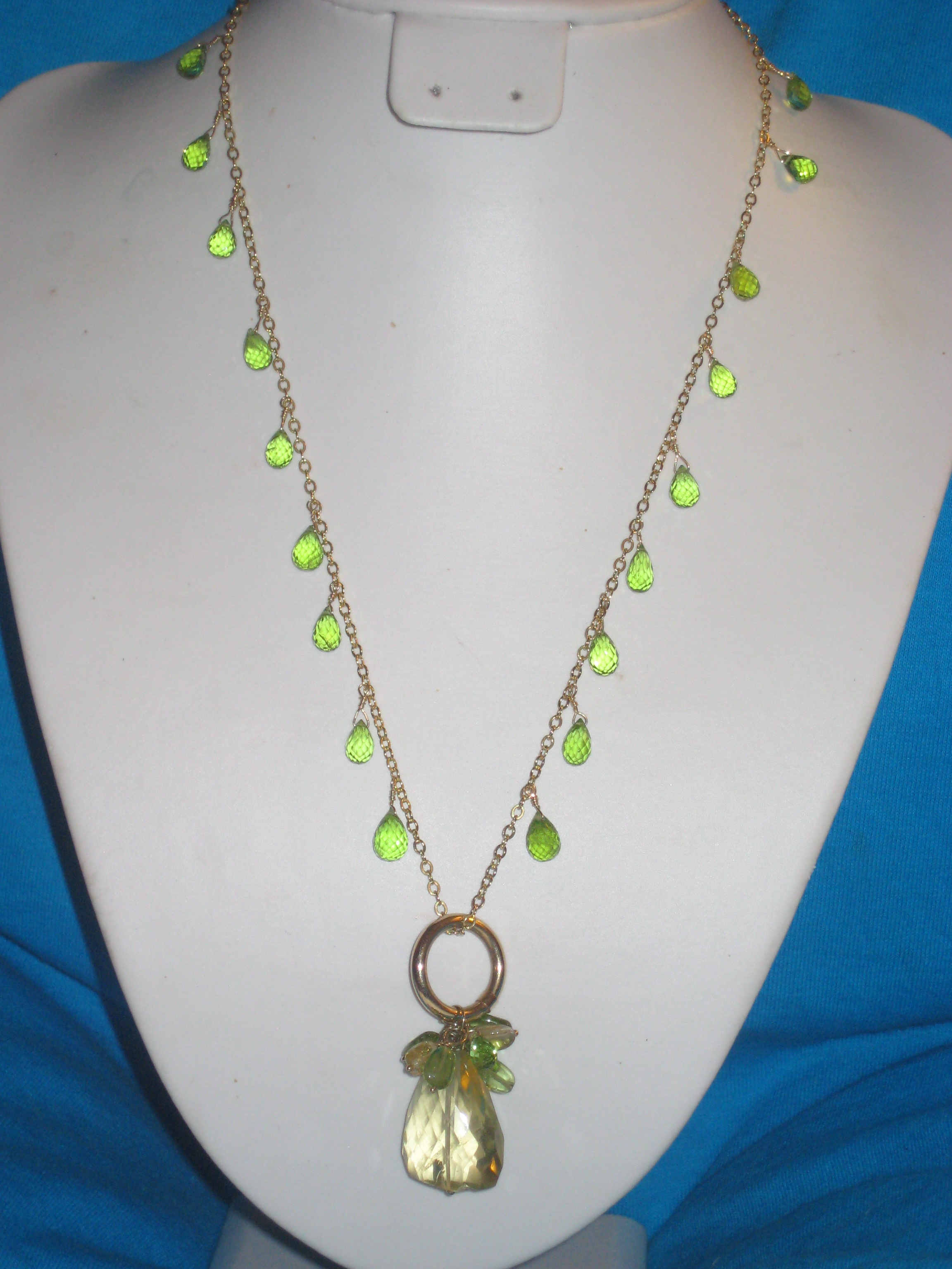large citrine drop necklace with peridot drops on 18 carat chain