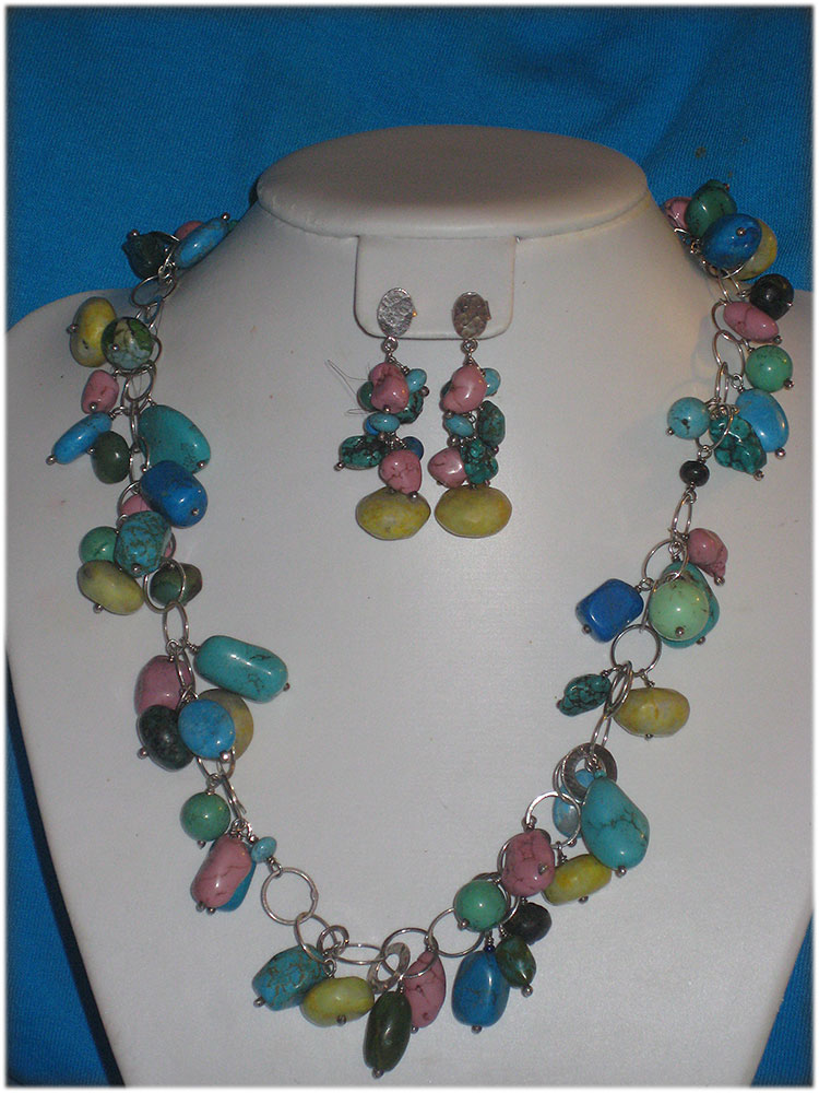 multicolored turquoise necklace on sterling silver chain