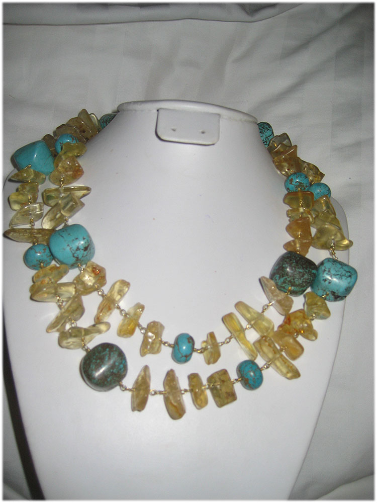 beautiful amber and turquoise necklace - Click Image to Close