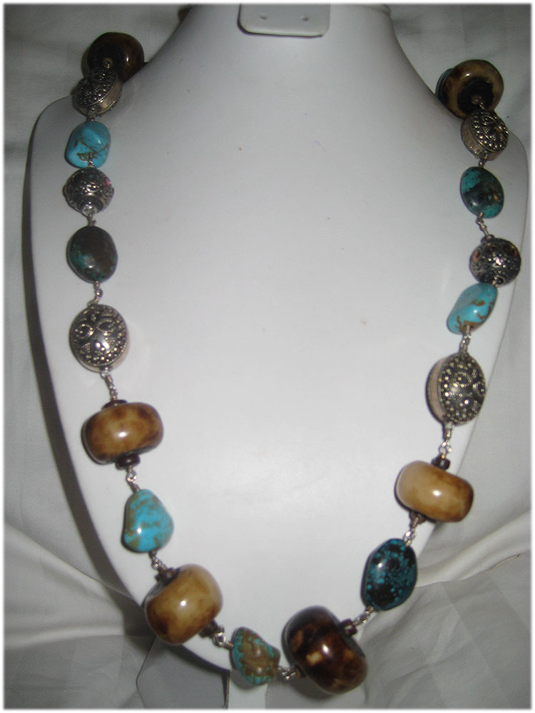 Ethnic long turquoise and seed necklace with bali silver beads
