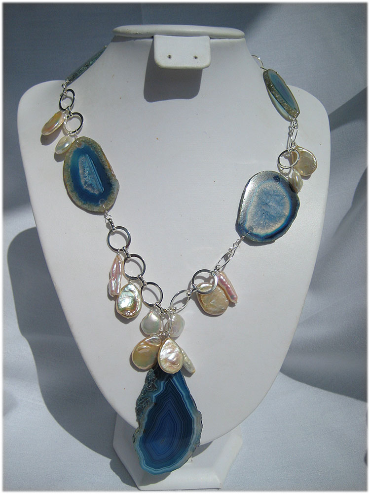 One of a kind blue agate and pearl necklace