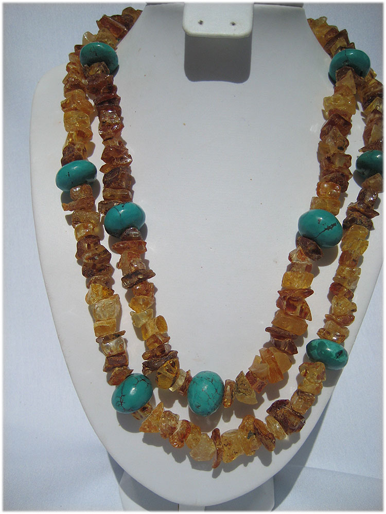 Rustic amber and turquoise necklace