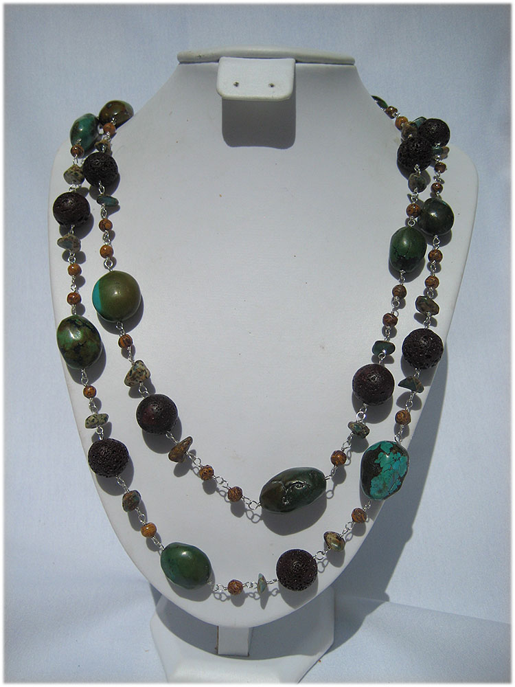 Multi colored turquoise and brown lava rock bead necklace - Click Image to Close