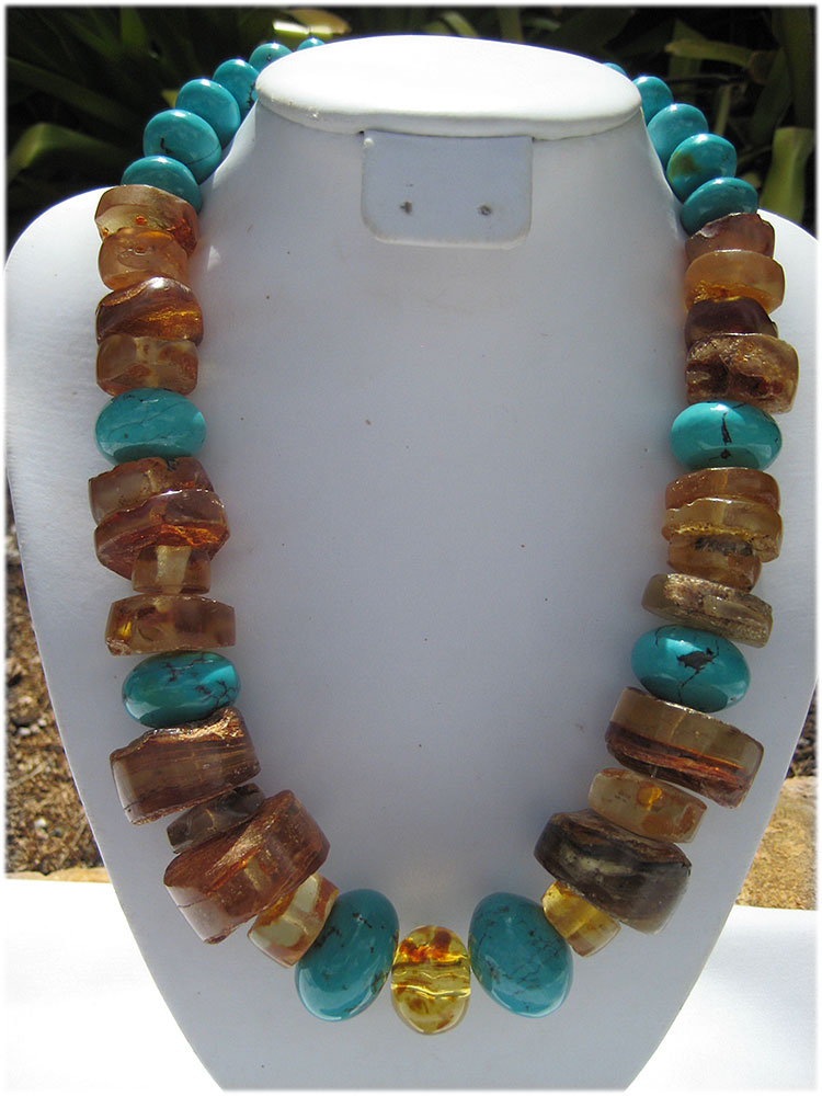 One of a kind amber and turquoise necklace - Click Image to Close