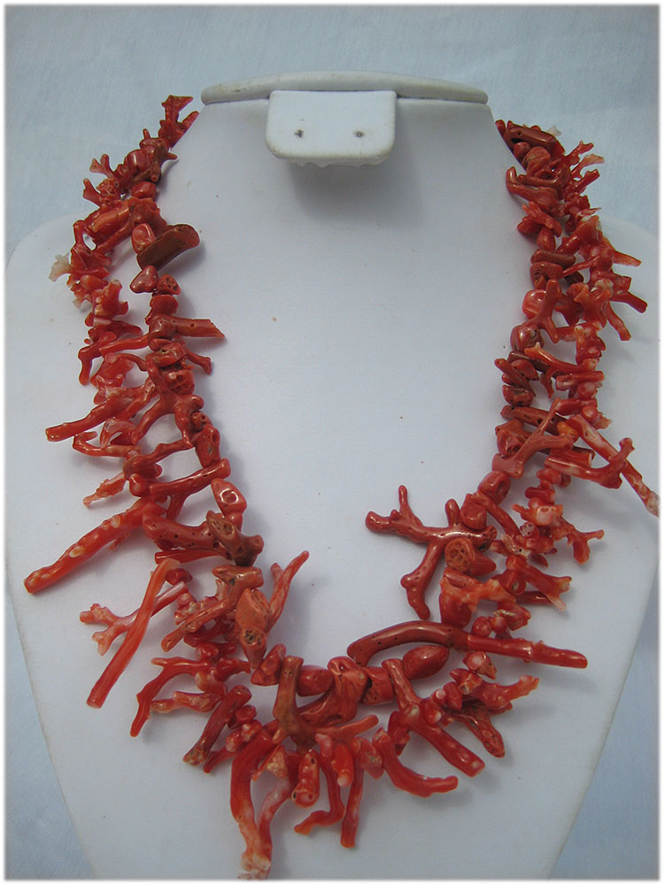 Natural untreated Italian coral 2 strand necklace - Click Image to Close