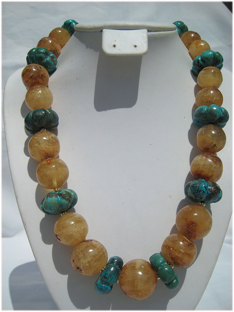 Stunning amber and turquoise necklace